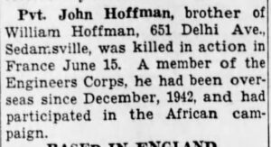 Private John Hoffman newpaper