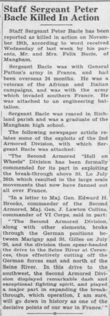 Staff Sergeant Peter Bacle The Richland Beacon-News (Rayville, Louisiana, United States of America) · 9 Dec 1944