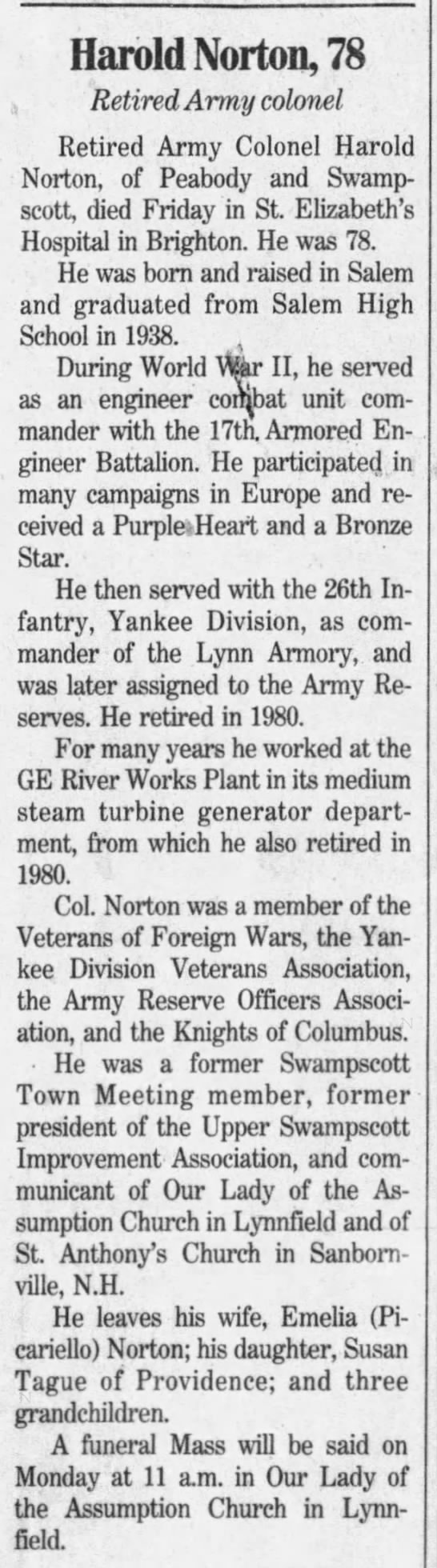 Colonel Harold Norton - The Boston Globe (Boston, Suffolk, Massachusetts, United States of America) · 2 May 1999