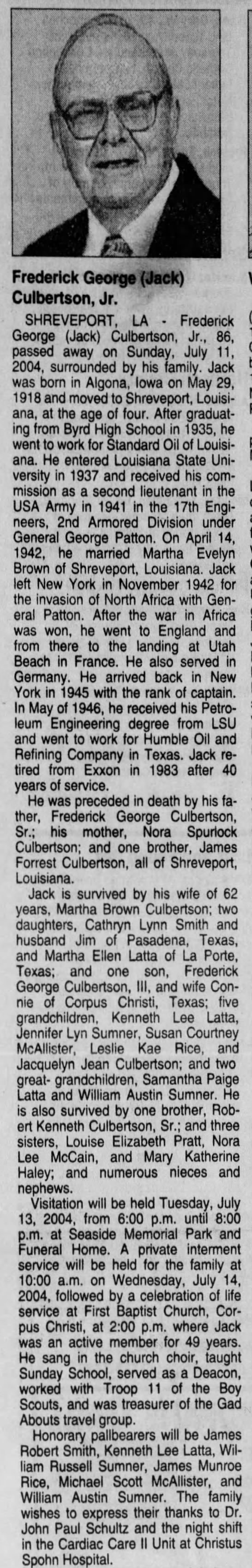 Frederick George Culberston - The Times (Shreveport, Caddo, Louisiana, United States of America) · 14 Jul 2004