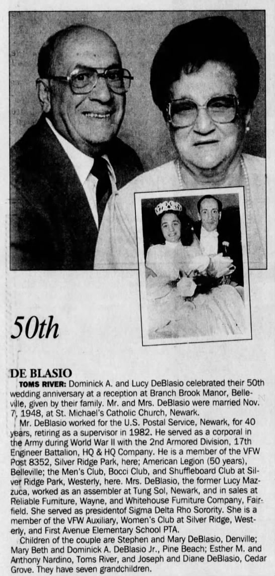 Dominick DeBlasio - Asbury Park Press (Asbury Park, Monmouth, New Jersey, United States of America) · 21 Nov 1998