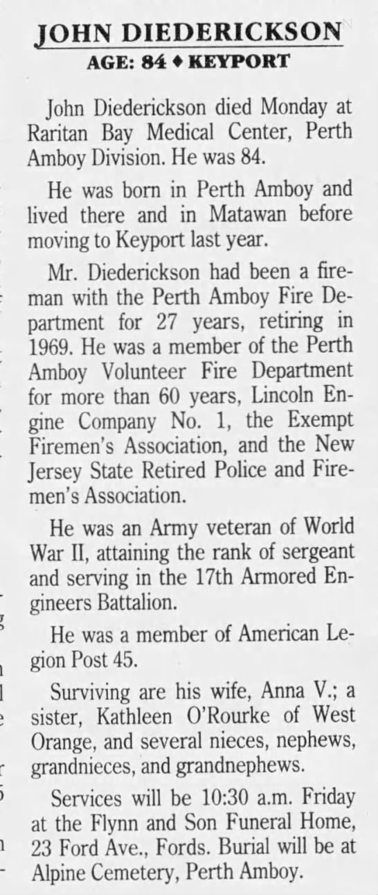 John Diederickson The Central New Jersey Home News (New Brunswick, Middlesex, New Jersey, United States of America) · 14 Feb 199