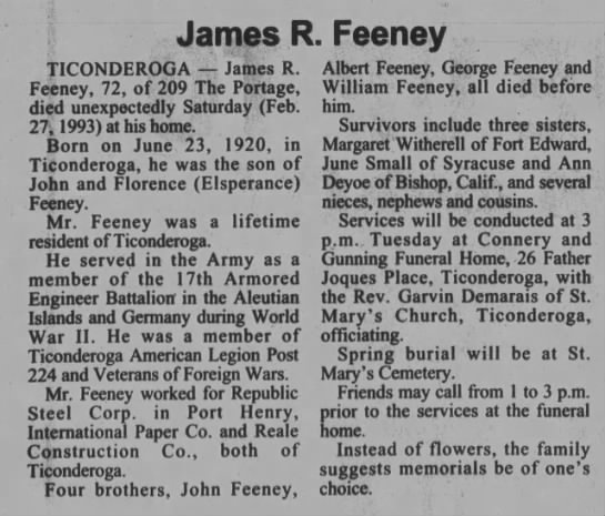 James R Feeney The Post-Star (Glens Falls, Warren, New York, United States of America) · 1 Mar 1993