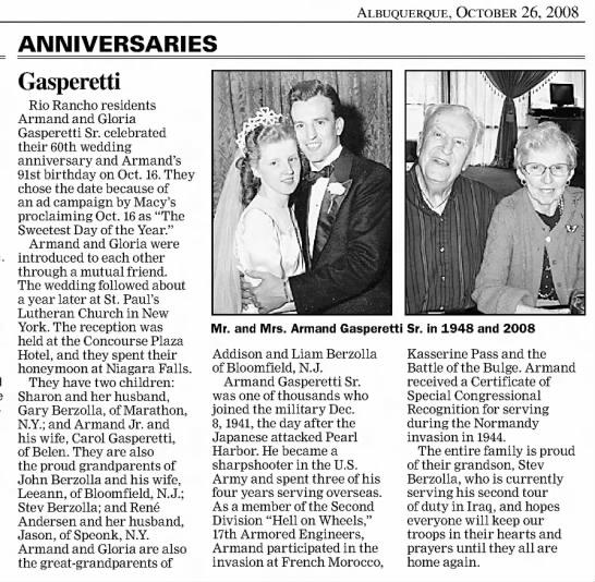Armand Gasperetti - Albuquerque Journal (Albuquerque, Bernalillo, New Mexico, United States of America) · 26 Oct 2008
