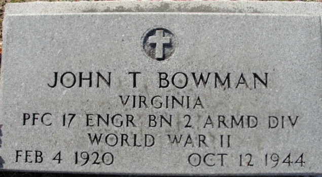 Headstone PFC John T Bowman
