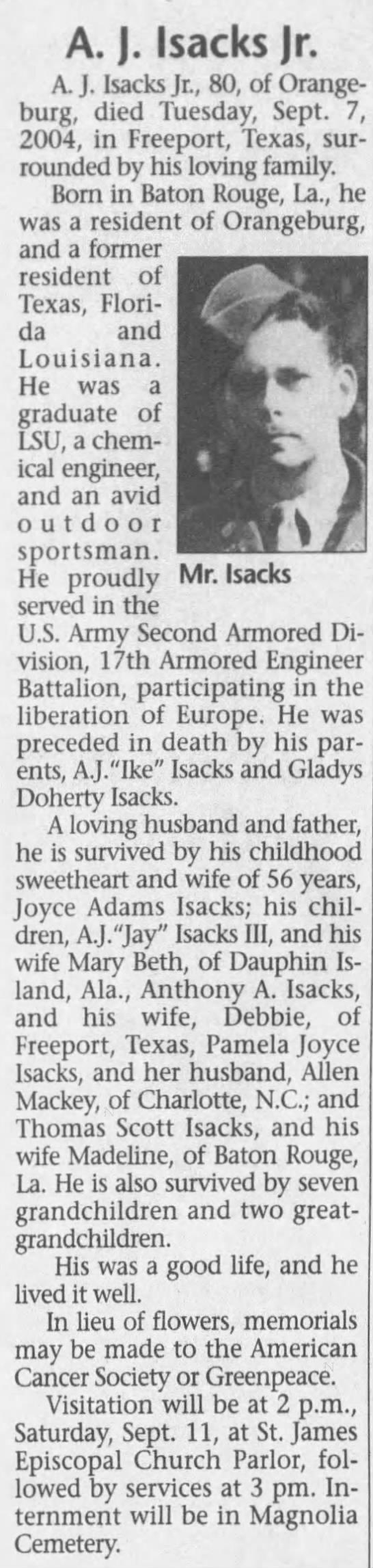 A. J. Isacks The Times and Democrat (Orangeburg, Orangeburg, South Carolina, United States of America) · 11 Sep 2004