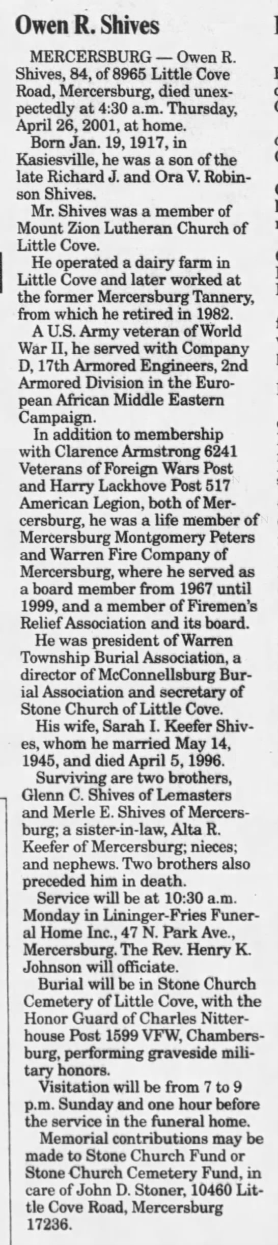 Owen R Shives Public Opinion (Chambersburg, Pennsylvania, United States of America) · 28 Apr 2001