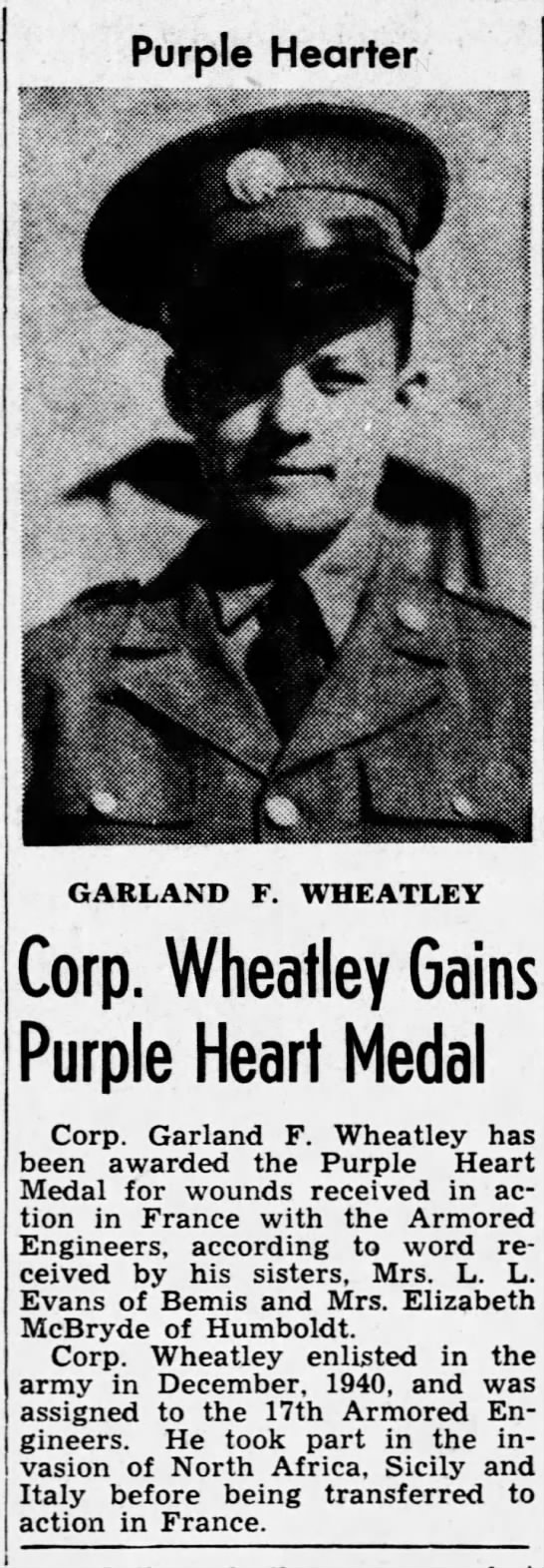 Garland F Wheatley - The Jackson Sun (Jackson, Madison, Tennessee, United States of America) · 6 Sep 1944