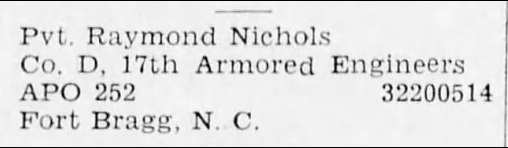 Raymond Nichols - The Brockway Record (Brockway, Pennsylvania, United States of America) · 25 Dec 1942