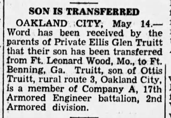Private Ellis Glen Truitt - Princeton Daily Clarion (Princeton, Gibson, Indiana, United States of America) · 14 May 1942