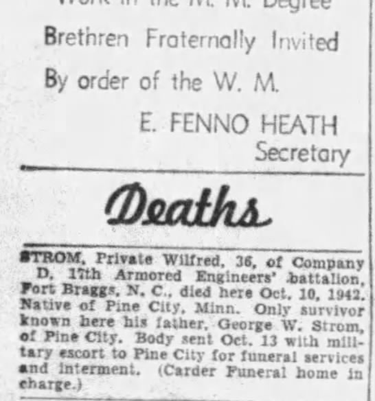 Private Wilfred Strom - Daily Press (Newport News, Newport News, Virginia, United States of America) · 14 Oct 1942