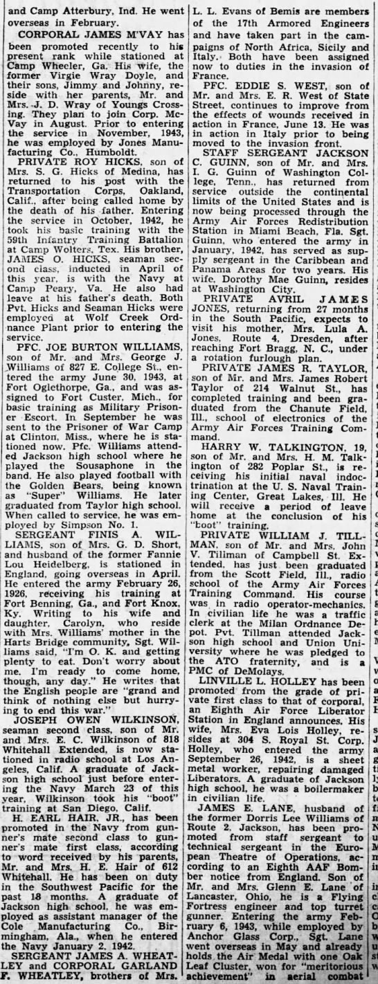 Corporal Garland F Wheatley - Sergeant James A Wheatley - The Jackson Sun (Jackson, Madison, Tennessee, United States of America) · 23 Jul 1944,