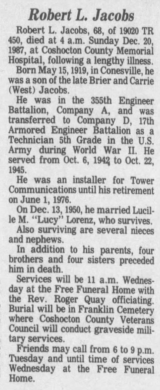 Robert L Jacobs - The Tribune (Coshocton, Coshocton, Ohio, United States of America) · 21 Dec 1987