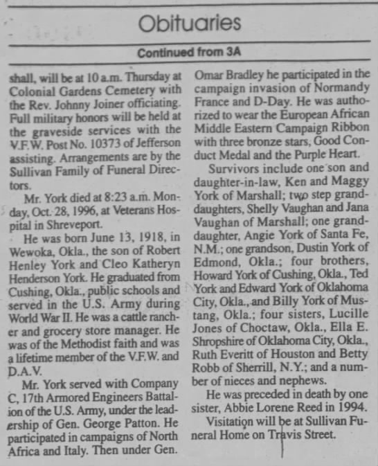 Ida York - The Marshall News Messenger (Marshall, Harrison, Texas, United States of America) · 29 Oct 1996