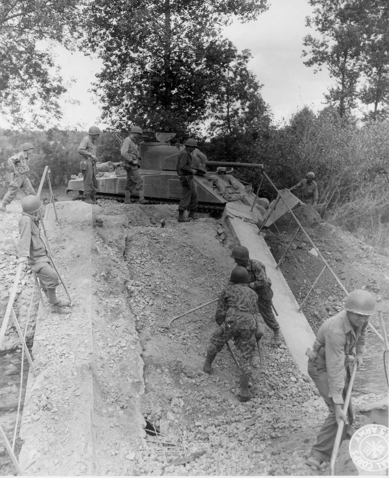 Engineers working on a bridge in France, August 20th 1944