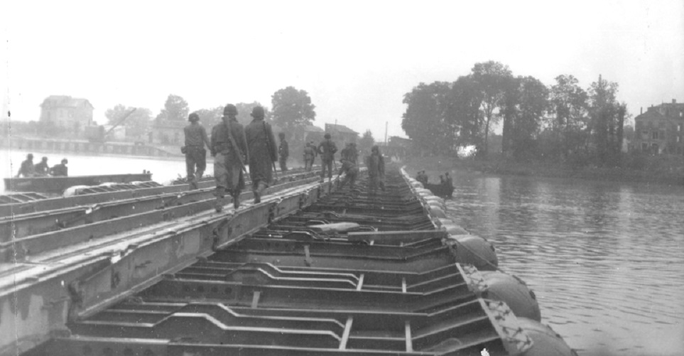Bridge over the Seine build by the 17th Engineers at Meulan, 28-30 Sept 1944France