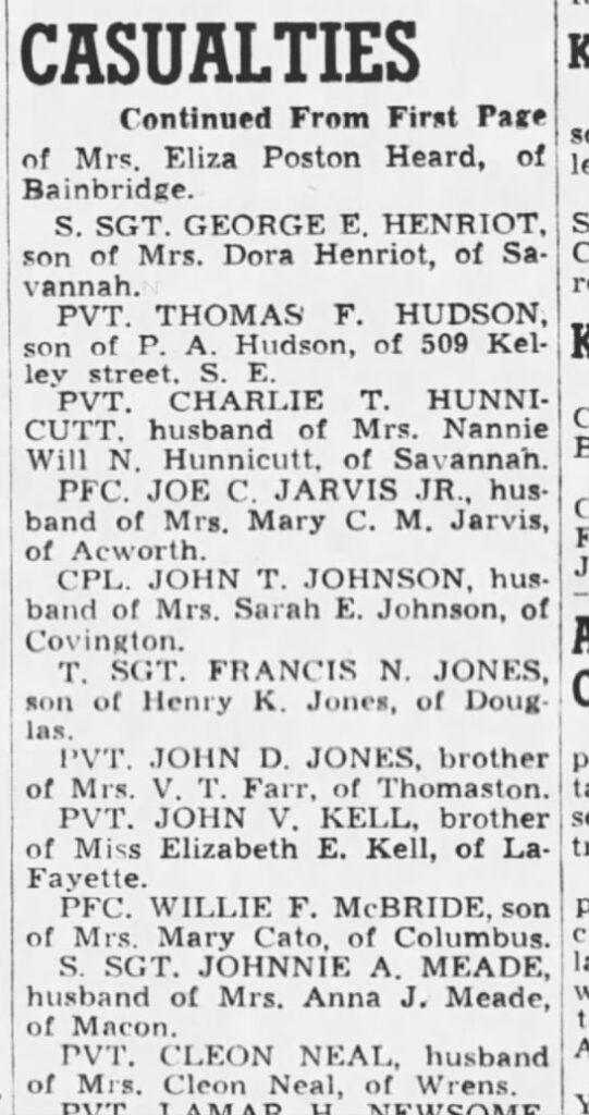 Cleon Neal - The Atlanta Constitution (Atlanta, Fulton, Georgia, United States of America) · 24 Oct 1944, Tue
