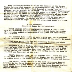 Articles 2nd Armored,  october 1944,Breakout Normandy, send home by Cpl Samuel James Larson, 17th Armored Engineer Battalion, 1944. (source: William Erickson)
