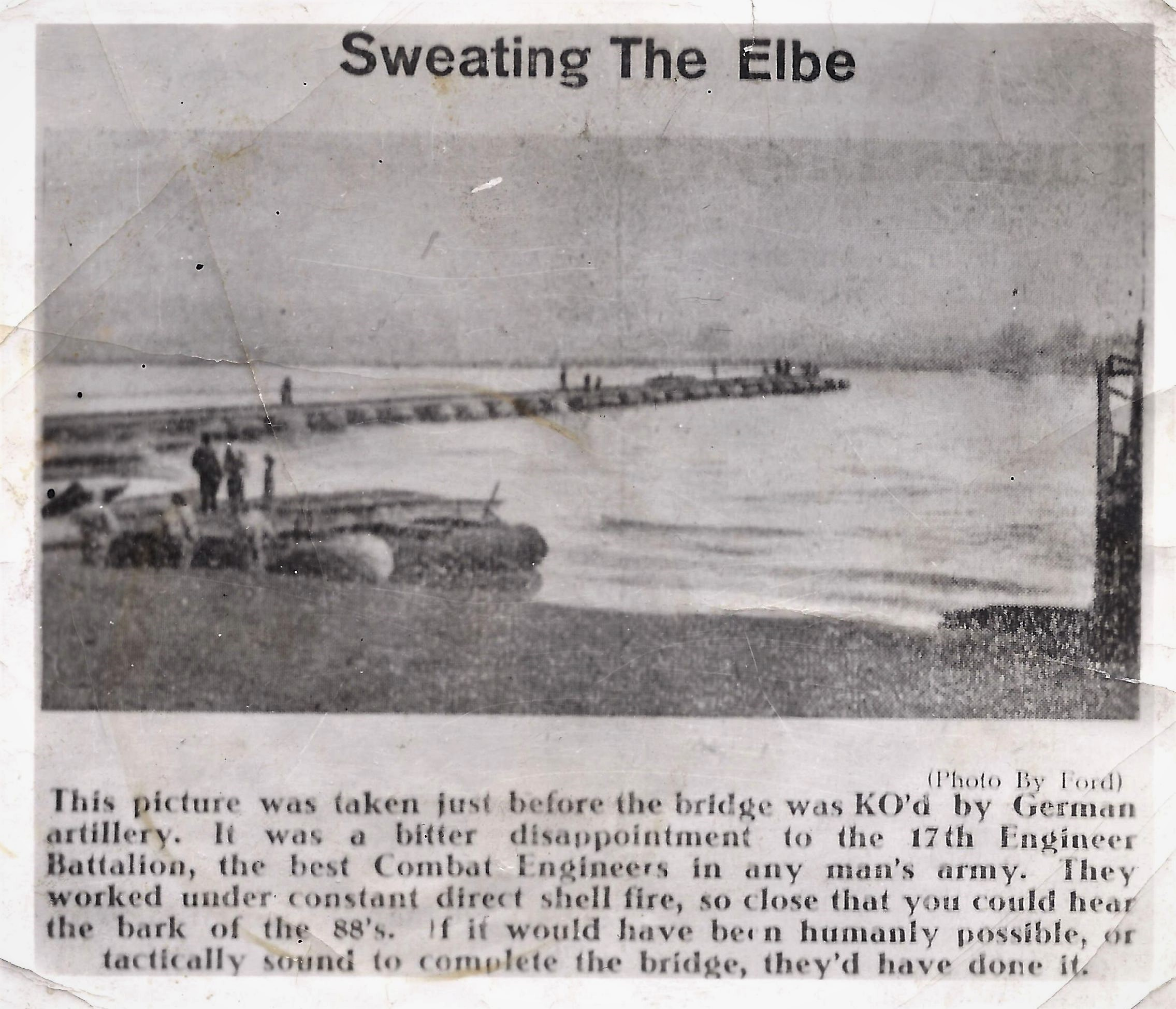 Bridge across the Elbe river before being shelled by 88's on April 14 -15, 1945. (Photo owner: Benjamin Heylen ASBL Musée du Souvenir 40 45)