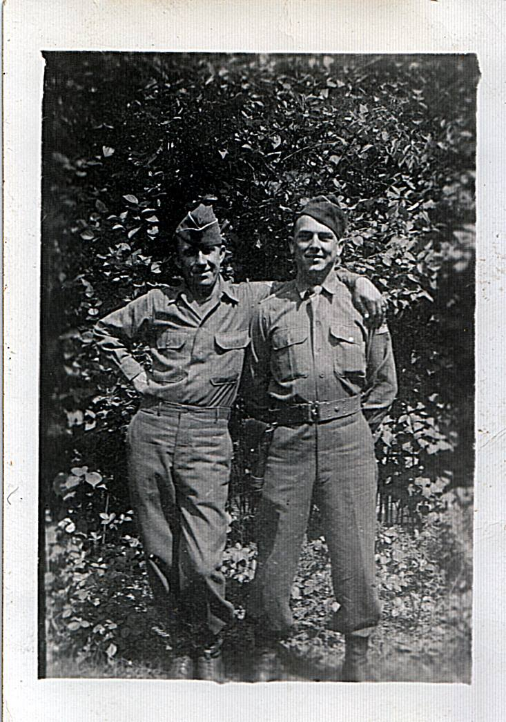 David E. (Edd) Hiett his buddy Mike (Mucha) Dugan Berlin July, 1945 FB
