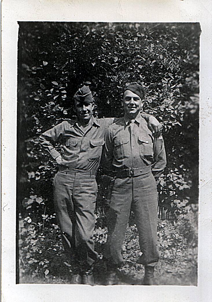 David E. (Edd) Hiett his buddy Mike (Mucha) Dugan Berlin July, 1945 FB