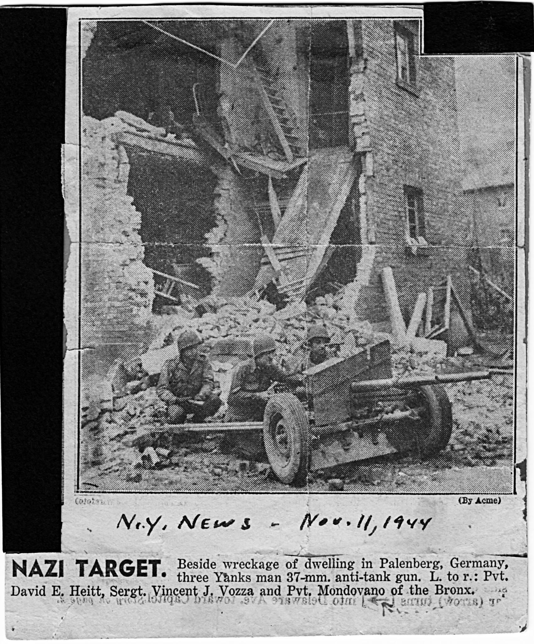 David E. (Edd) Hiett of C Company, Newspaper November 1944 Palenberg, Germany