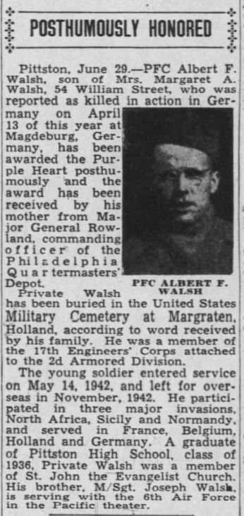Albert F Walsh - The Times-Tribune (Scranton, Pennsylvania) · 29 Jun 1945 Source nwspapers.com