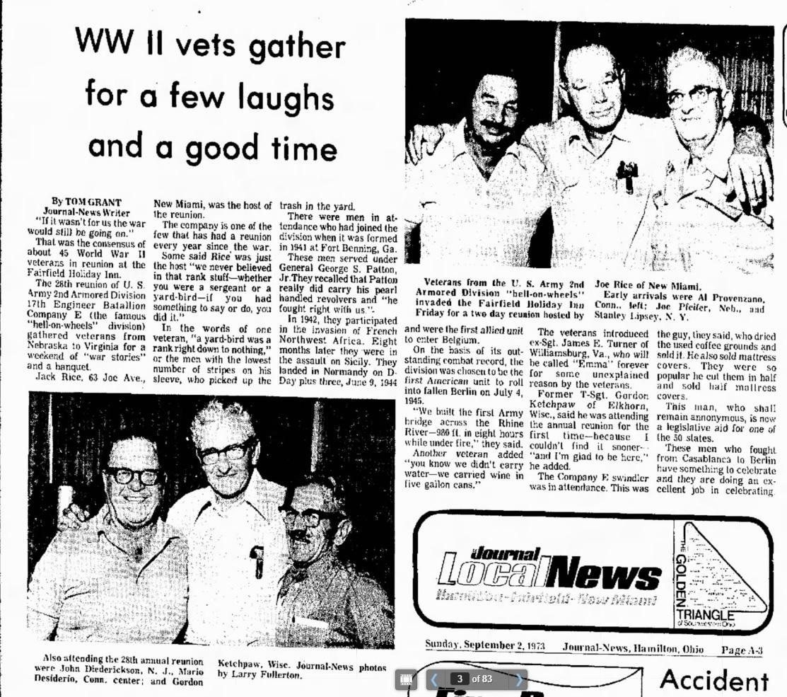 Article: Reunion 17th Armored Engineer Battalion, Company E - Hamilton News sept 2 1973 Source: Newspapers.com