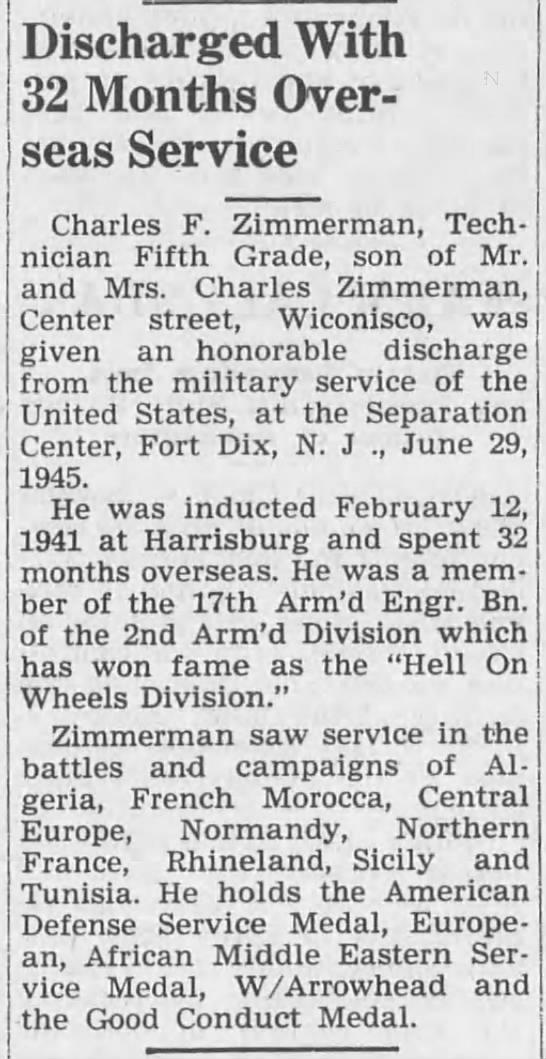 Charles F Zimmerman -Lykens Register (Lykens, Pennsylvania)13 Jul 1945, FriPage 1-1