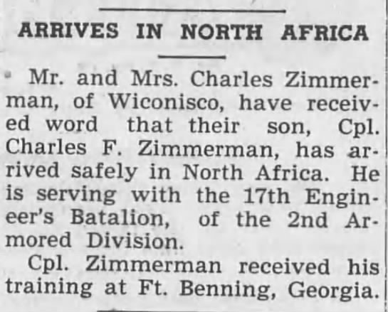 Charles F Zimmerman-Lykens Register (Lykens, Pennsylvania)22 Jan 1943, FriPage 1