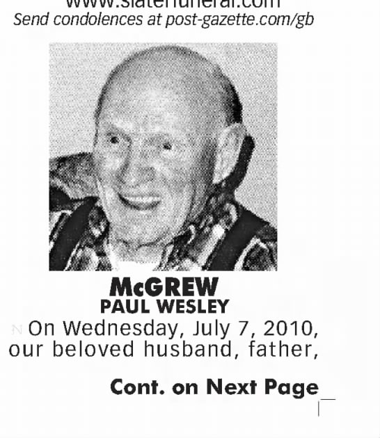 Paul Wesley Mcgrew Company 17th Armored Engineer Battalion-Pittsburgh Post-Gazette (Pittsburgh, Pennsylvania)09 Jul 2010, FriPage 41-1 (Newspapers.com)