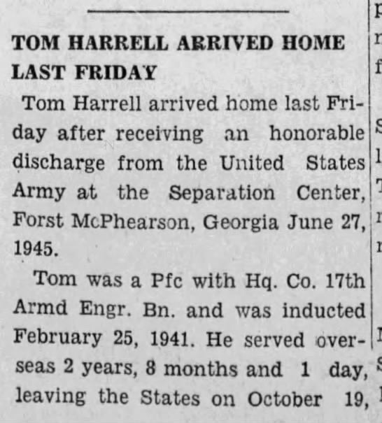 Pfc Tom Harell- The Choctaw-HQ Co 17th Armored Engineer Battalion- Advocate (Butler, Alabama)05 Jul 1945, ThuPage 1-1