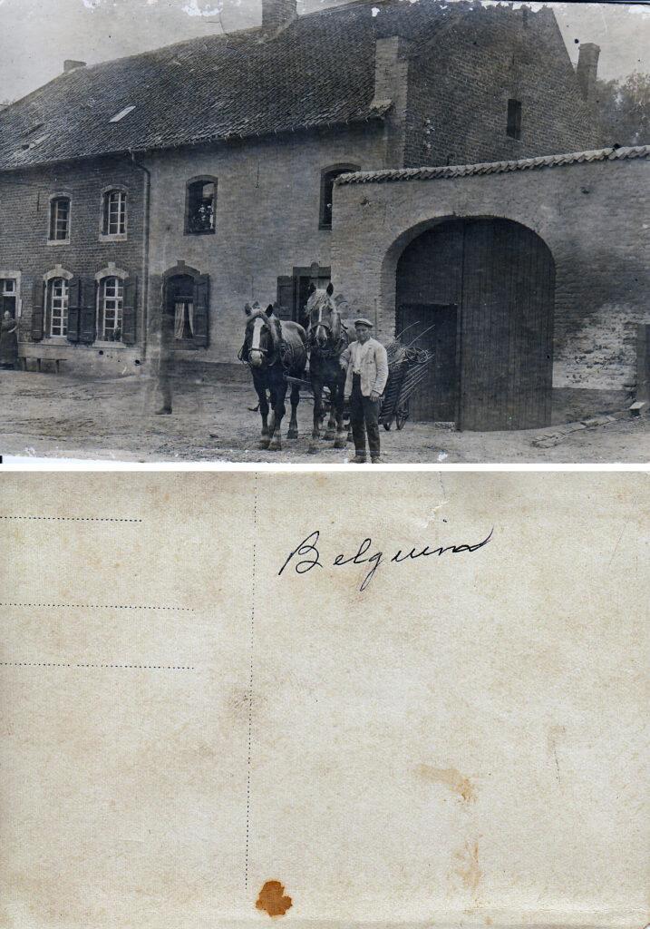 Postcard of Belgium farmers, send home by PFC David Hiett (Courtesy: M. Hiett)