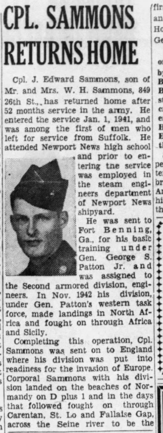 Corporal Edward J Sammons 17th Engineer, Daily Press (Newport News, Virginia)17 Jun 1945, SunPage 18 (Source Newspapers.com)