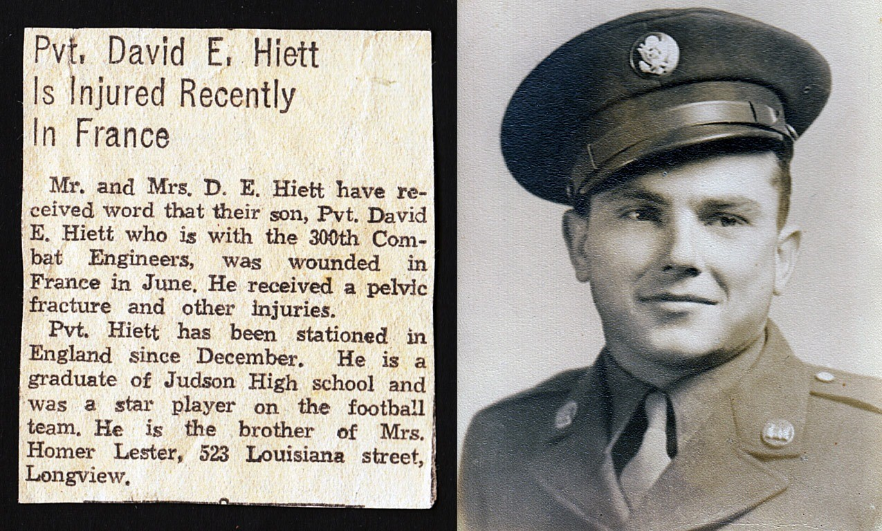 David E Hiett from England being wounded, newpaper article (Courtesy Mark Hiett)