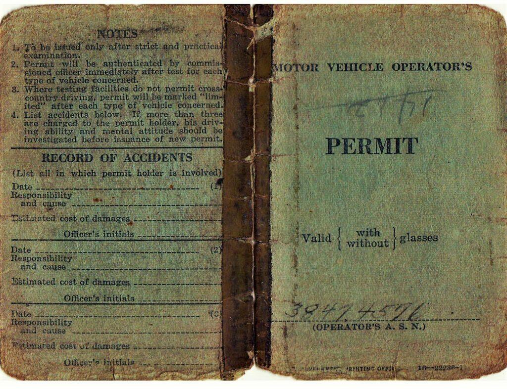 Drivers Permit of PFC David Edd Hiett (Courtesy Mark Hiett)