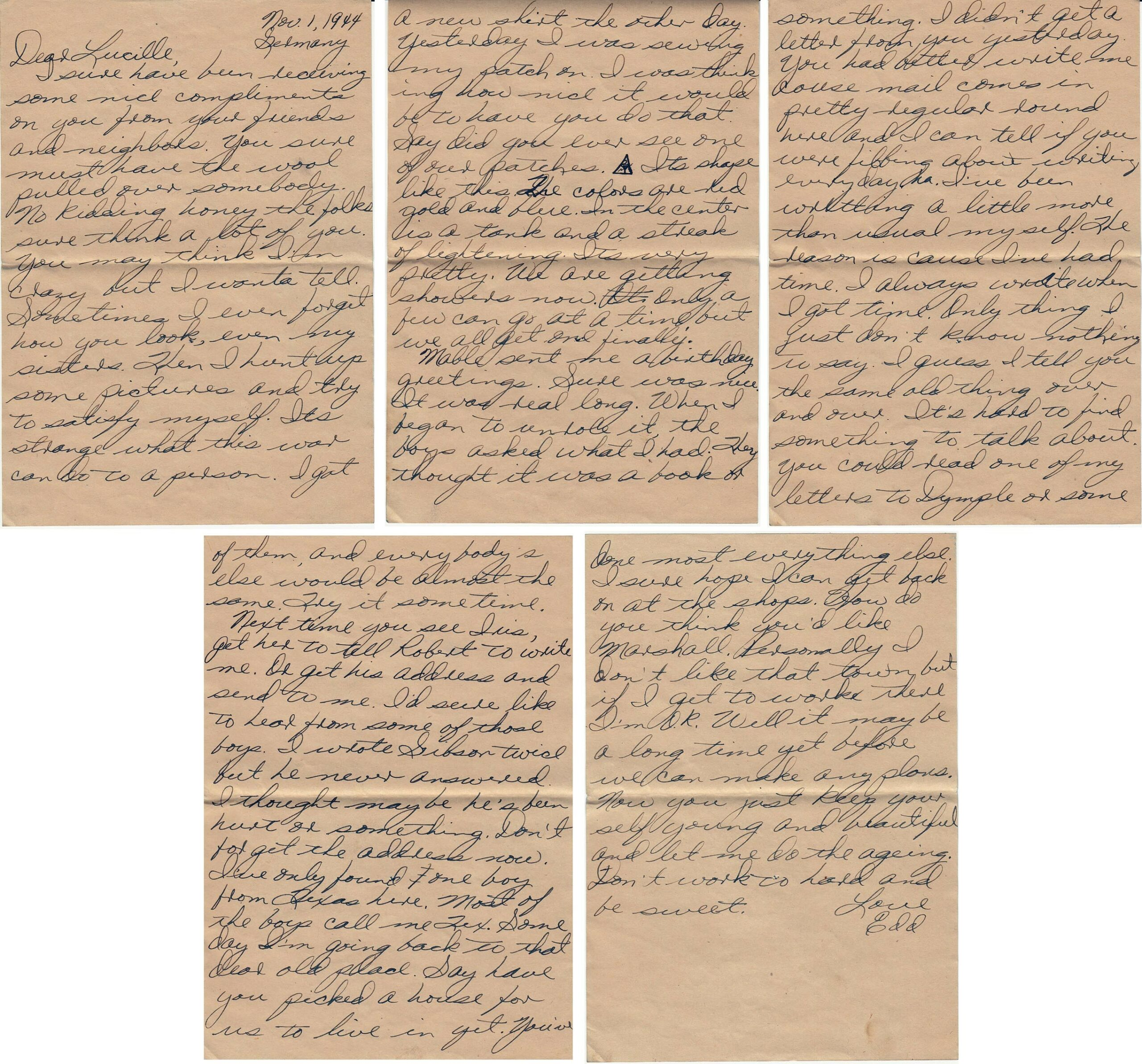 Letter 11.1.1944 (Courtesy Mark HIett)