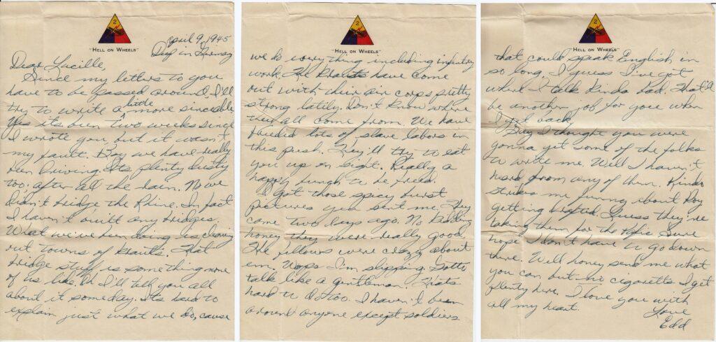 Letter 4.9.1945 (Courtesy Mark Hiett)