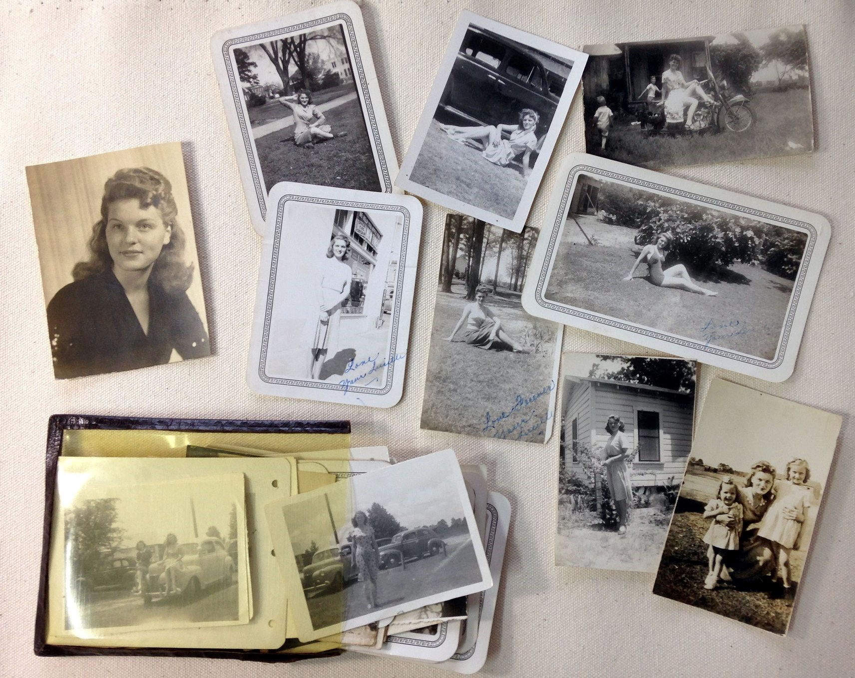 Lucille Alyne Scharff Hiett. The little pouch of photos PFC David E Hiett carried during the war that were so popular in the 3rd squad of the 17th Engineers, Company C. (Courtesy Mark Hiett)