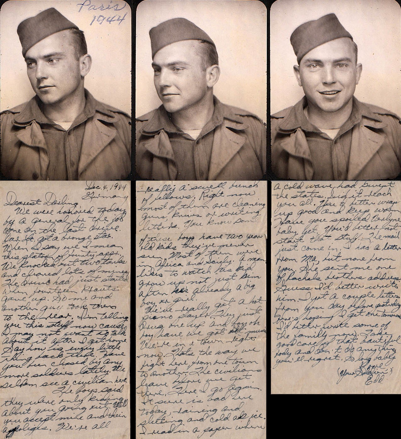 """Edd Hiett in Paris September 1944. The letter was written December 4, 1944 and it mentions a general honoring his platoon for knocking out 2 Tiger Tanks, clearing a lot of mines and him helping take 14 prisoners. He says """"I'm telling you this because I may not want to talk about it after I get home."""" (by MarkHiett, photo Courtesy Mark Hiett)"""