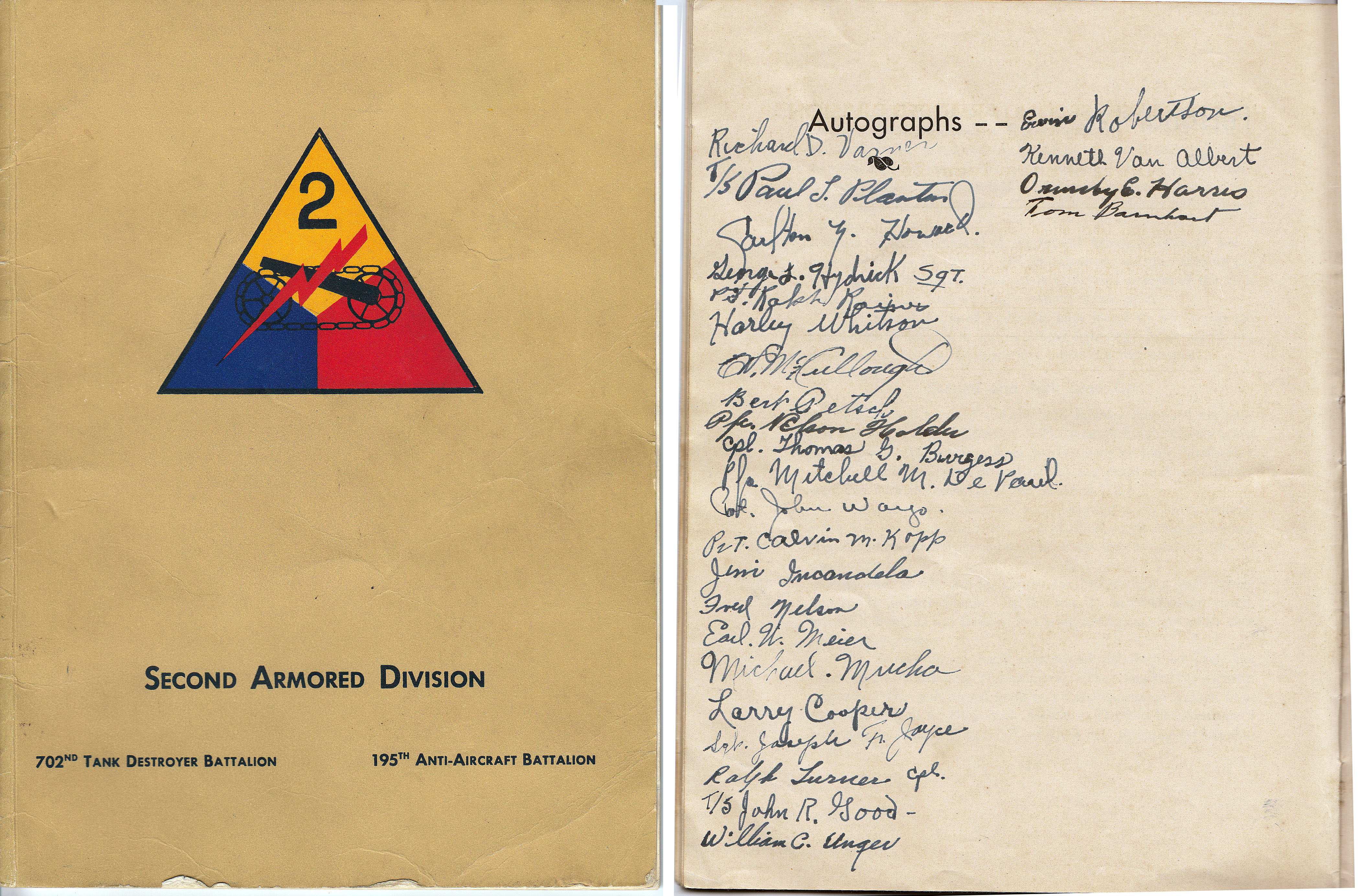 Singed Book cover: 2nd Armored Division 702nd Tank Destroyer Battalion - 195th Anti-aircraft Battalion. Courtesy: M. Hiett)