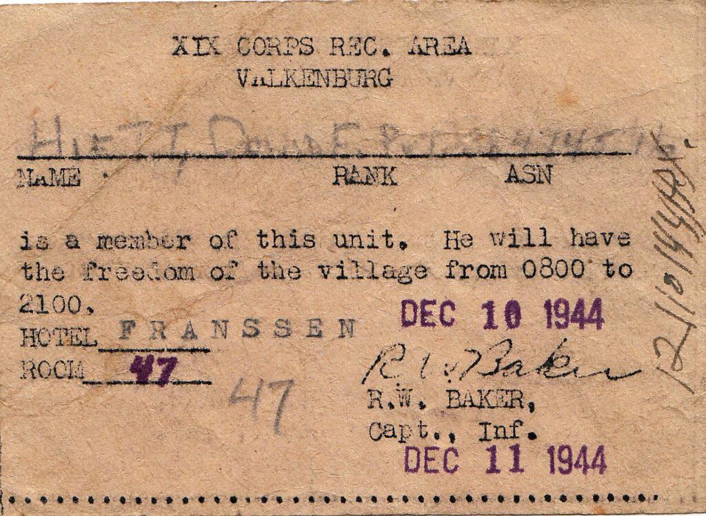 XIX Corps Recreation Area Valkenburg December 10, 1944 for PFC David Edd Hiett (Mark Hiett)