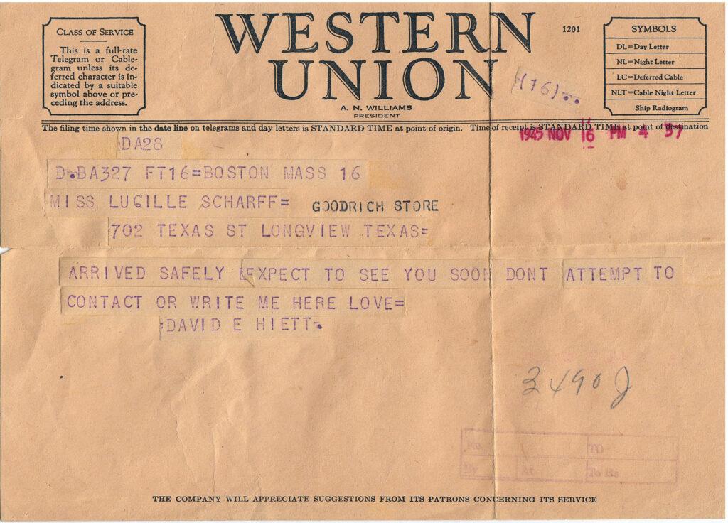 Telegram sended from David Edd Hiett November 16, 1945(Courtesy Mark Hiett)