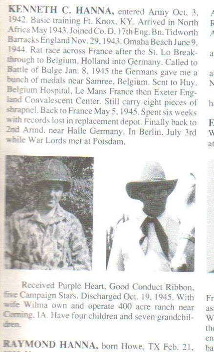 Private First Class, Article -Kenneth C. Hanna, D Company , 17th Engineers (Source unknown)