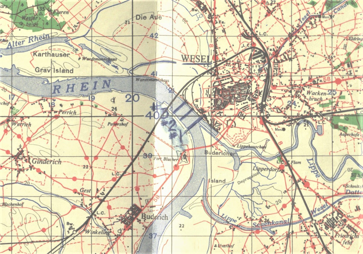 Map of Wesel by the 1117th Engineer Combat Group on the Rhine River Crossing