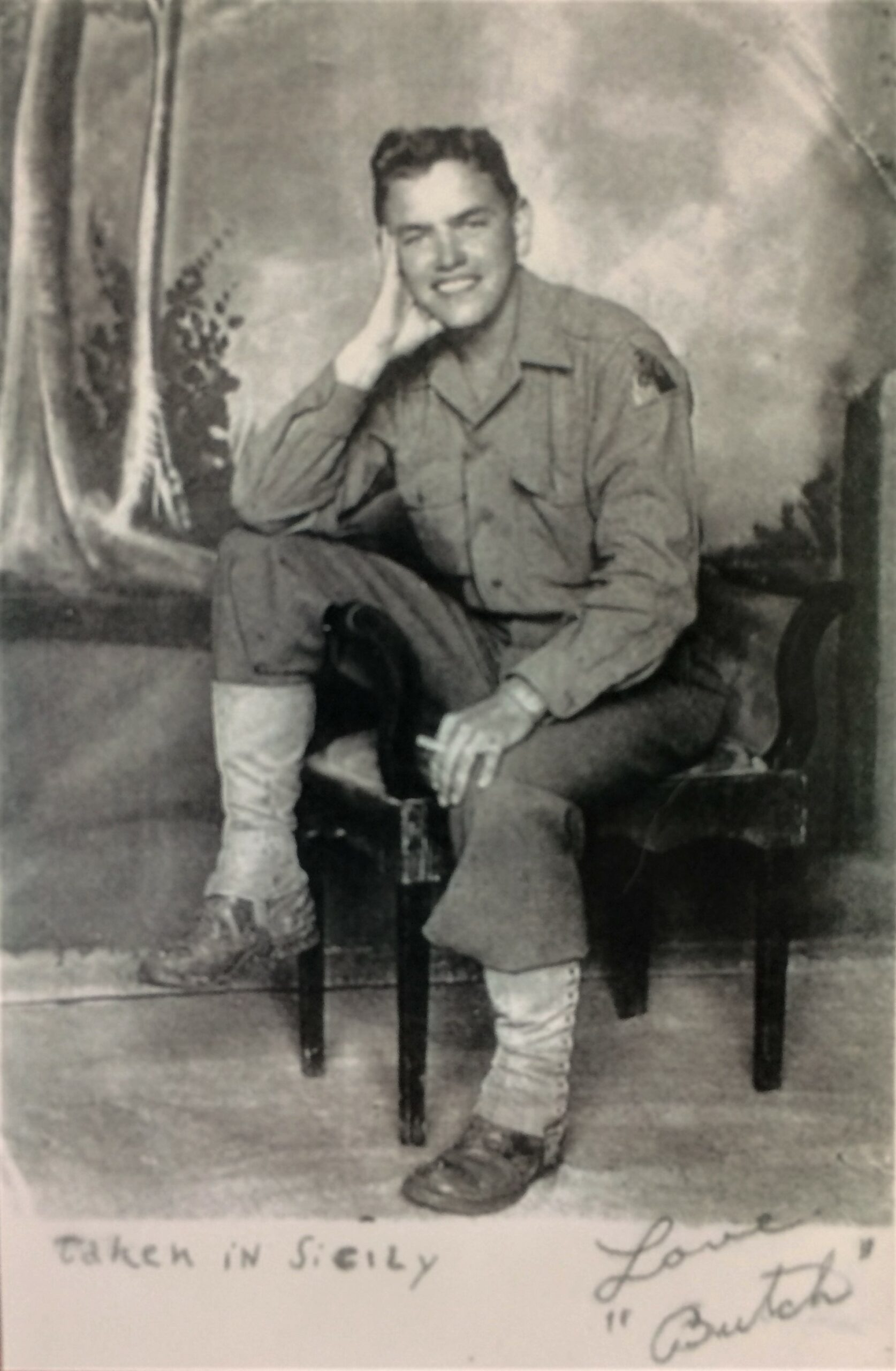 """Photo of Chester """"Butch"""" L Patcyk taken in Sicily, 1943 (Courtesy Carleen Dunne)"""