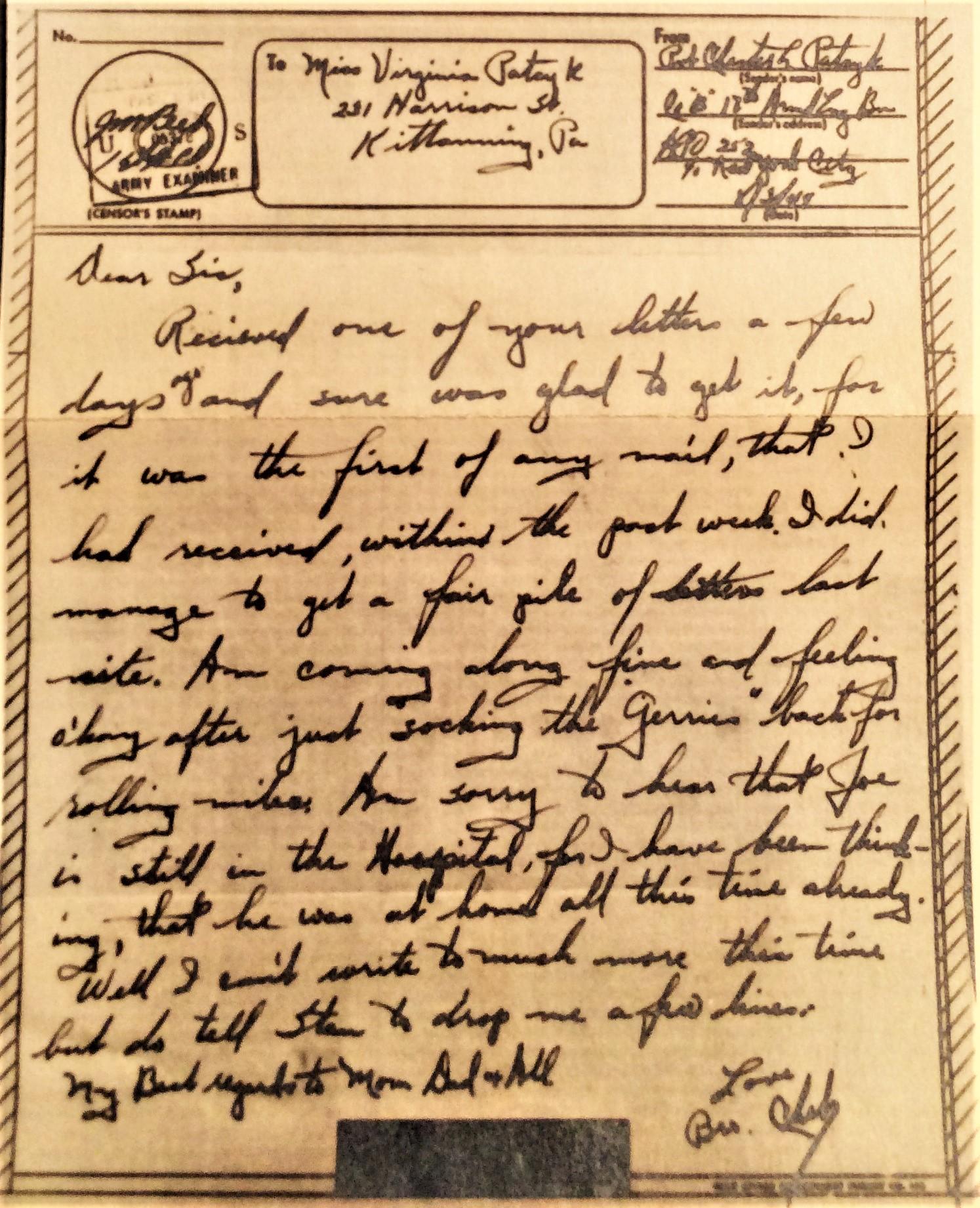 Last letter, V-mail August 3, 1944 (Courtesy Carleen Dunne)