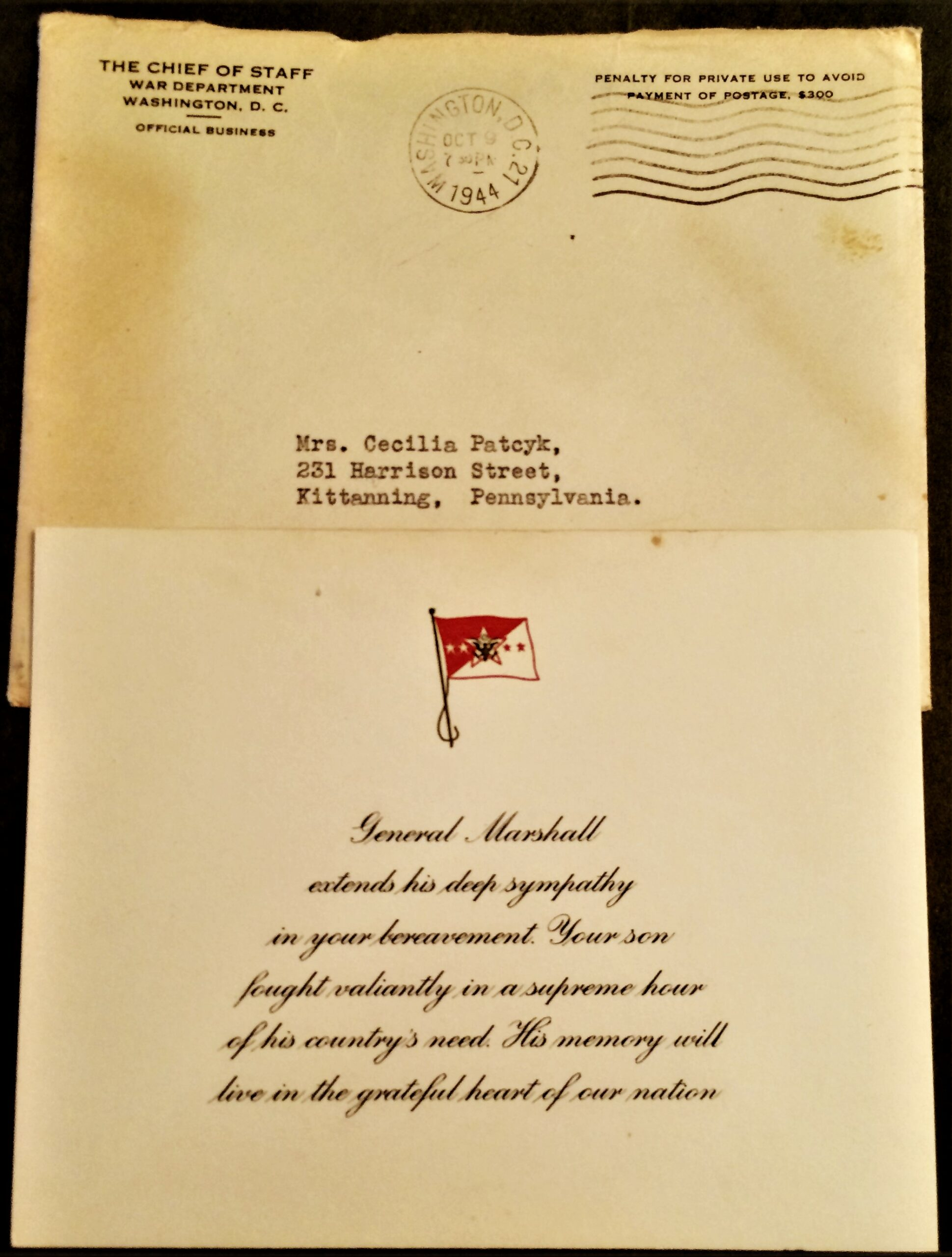 Sympathy Card 9 October 1944 (Courtesy Carleen Dunne)