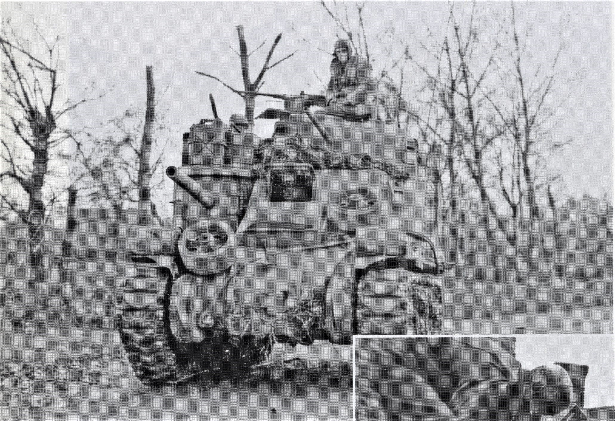 An M31 tank-recovery vehicle of the 2nd Armored Division near Loverich, Germany, on 18 November. Two large attachements haven been welded to the final drive housings for use as an improvised treadway bridge layer. (Source Real War Photos)