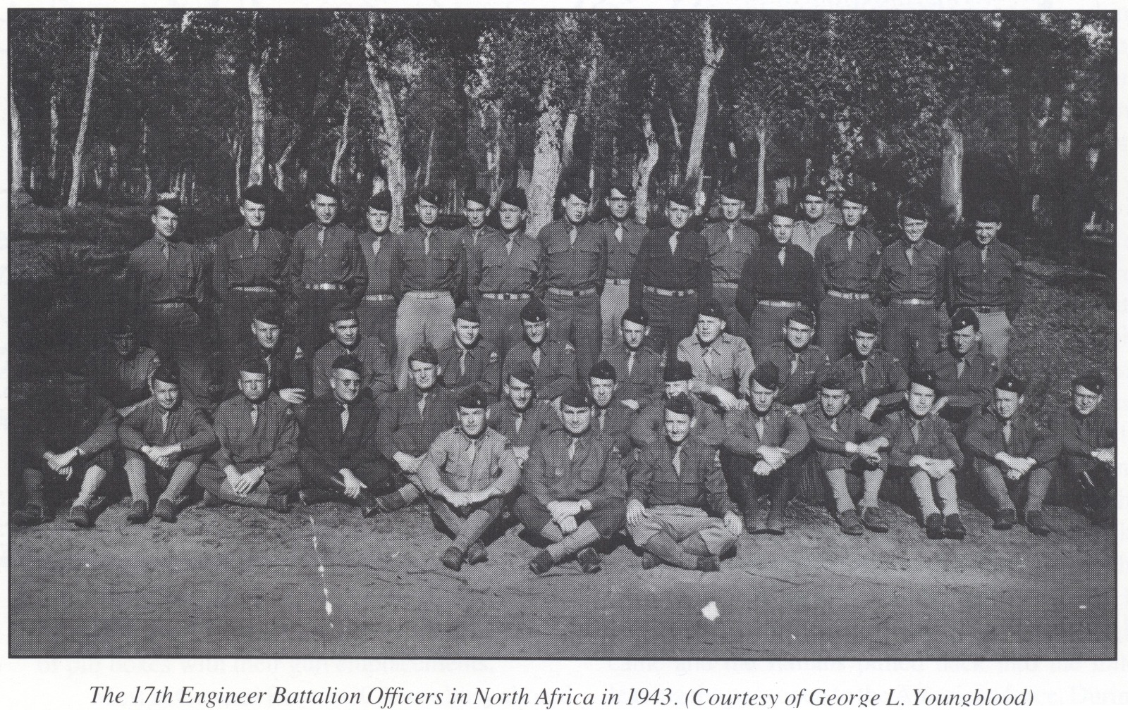 17th Engineer Battalion Officers in North Africa in 1943 (Courtesy of George L. Youngblood)